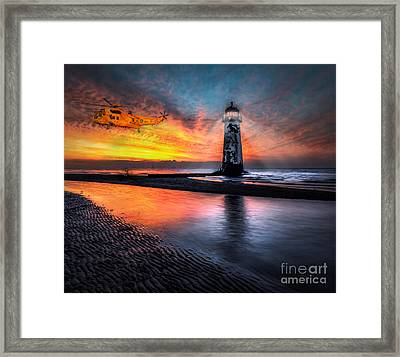 Lighthouse Rescue Framed Print by Adrian Evans