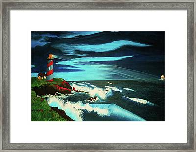 Lighthouse Rescue Framed Print