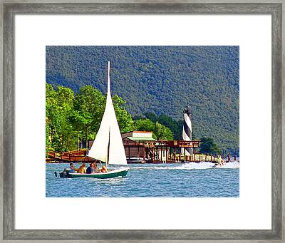 Lighthouse Sailors Smith Mountain Lake Framed Print