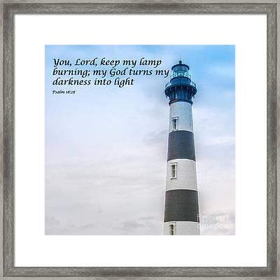 Lighthouse Scripture Verse Framed Print by Randy Steele