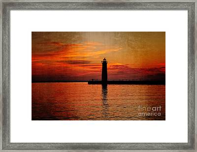 Lighthouse Silhouette  Framed Print by Emily Kay