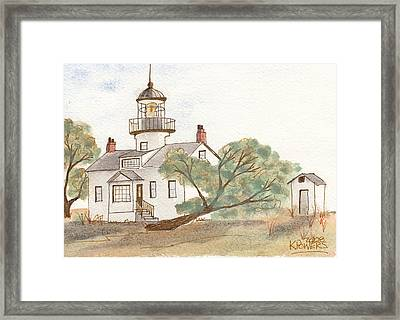 Lighthouse Sketch Framed Print by Ken Powers