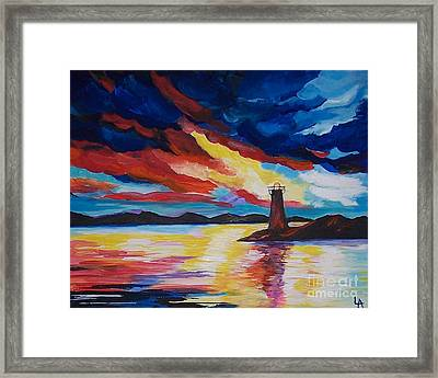 Framed Print featuring the painting Lighthouse Storm by Leslie Allen