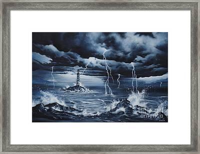 Lighthouse Storm  Framed Print by Zach Kintner