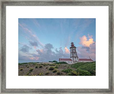 Lighthouse Sunrise At Cape Espichel Framed Print