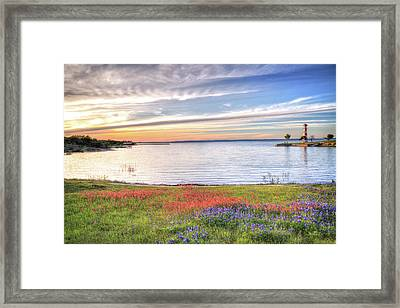 Lighthouse Sunset At Lake Buchanan Framed Print