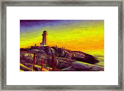 Lighthouse Sunset Framed Print by Caito Junqueira
