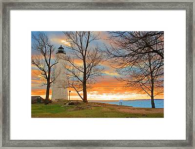 Lighthouse Sunset Framed Print by Cathy Leite Photography