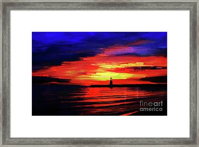 Lighthouse Sunset  Framed Print by Gull G