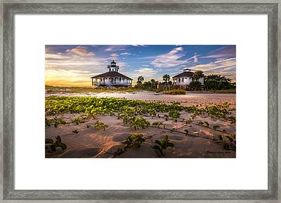 Lighthouse Sunset Framed Print by Marvin Spates
