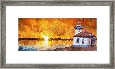 Lighthouse Sunset Palette Knife Oil Framed Print
