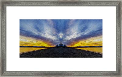 Lighthouse Sunset Reflection Oil Painting Framed Print by Pelo Blanco Photo
