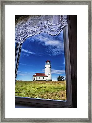 Lighthouse Through The Window Framed Print