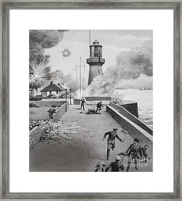 Lighthouse Under Bombardment Framed Print