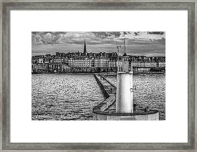 Framed Print featuring the photograph Lighthouse Walkway by Elf Evans