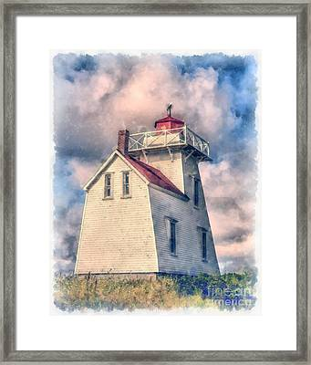 Lighthouse Watercolor Framed Print by Edward Fielding