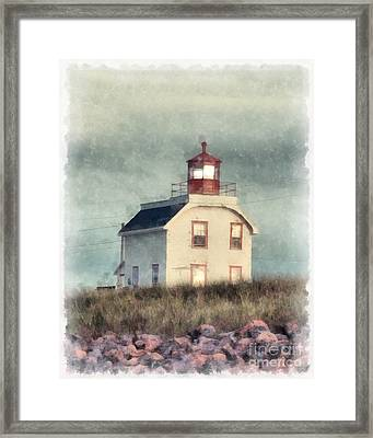 Lighthouse Watercolor Prince Edward Island Framed Print