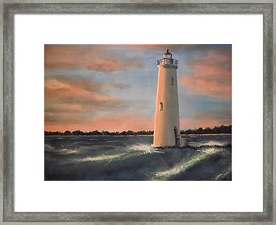 Lighthouse Waves Framed Print