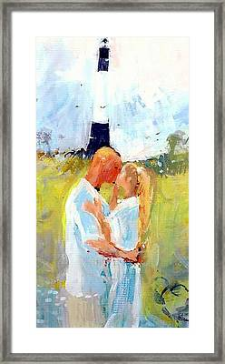 Framed Print featuring the painting Lighthouse Wedding by Gertrude Palmer