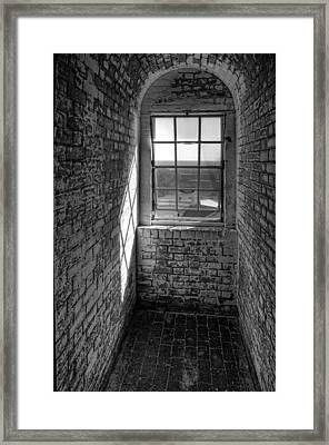 Lighthouse Window  Black And White Framed Print by Peter Tellone