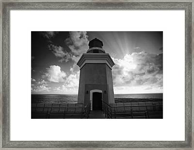 Lighthouse With Dramatic Sky Framed Print by George Oze