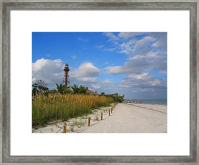 Lighthouse Wth Red Bows Framed Print