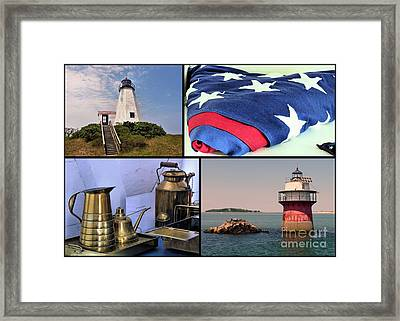 Lighthouses Of Plymouth Ma Framed Print