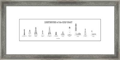 Lighthouses Of The Gulf Coast Framed Print by Daniel Hagerman