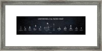 Lighthouses Of The Pacific Coast Blueprint Framed Print by Daniel Hagerman