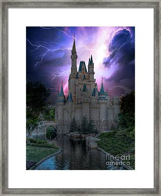 Lighting Over The Castle Framed Print