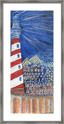 Lighting Up The Town Framed Print by Anne-Elizabeth Whiteway
