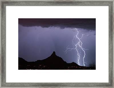 Lightnin At Pinnacle Peak Scottsdale Arizona Framed Print