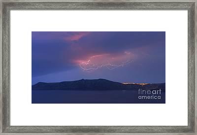 Lightning Above Santorini Framed Print by Henk Meijer Photography