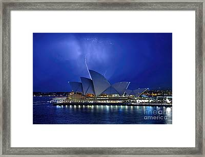 Lightning Above The Opera House Framed Print