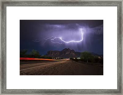 Lightning And Light-trails Framed Print by Chuck Brown