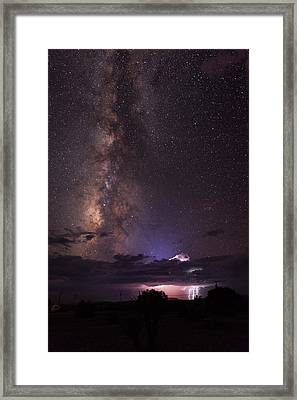 Lightning And Milky Way Framed Print