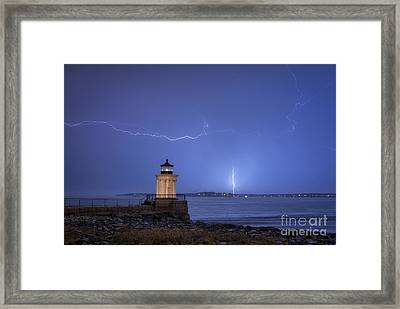 Lightning And The Lighthouse Framed Print by Scott Thorp