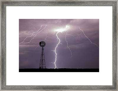 Lightning And Windmill -02 Framed Print