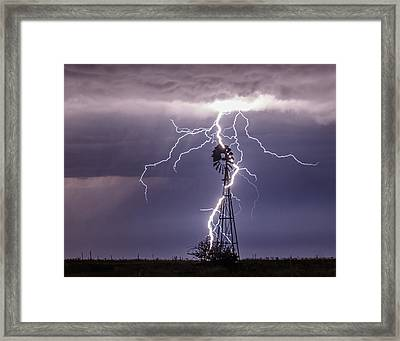 Lightning And Windmill Framed Print