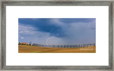Lightning At Agriturismo Poggio Covili In The Tuscany Framed Print by Henk Meijer Photography