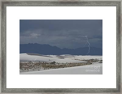 Lightning At White Sands National Monument Framed Print