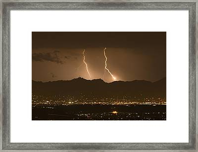 Lightning Bolt Strikes Out Of A Typical Framed Print by Mike Theiss