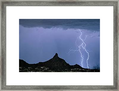 Framed Print featuring the photograph Lightning Bolts And Pinnacle Peak North Scottsdale Arizona by James BO Insogna