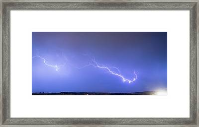 Lightning Bolts Coming In For A Landing Panorama Framed Print by James BO  Insogna