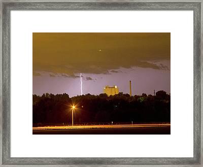 Lightning Bolts Striking In Loveland Colorado Framed Print