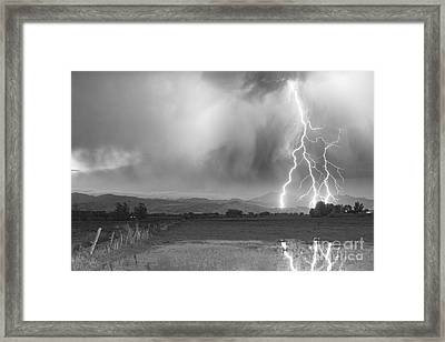 Lightning Bolts Striking Longs Peak Foothills 6bw  Framed Print by James BO  Insogna