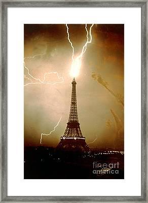 Lightning Bolts Striking The Eiffel Tower Framed Print