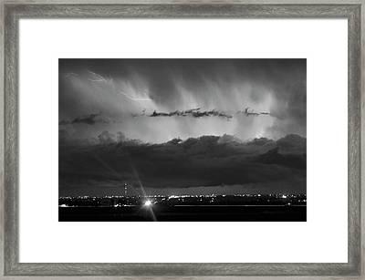 Lightning Cloud Burst Black And White Framed Print
