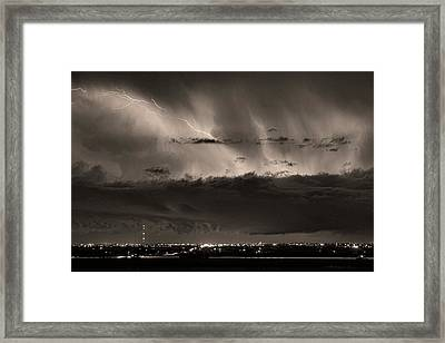 Lightning Cloud Burst Boulder County Colorado Im39 Sepia Framed Print by James BO  Insogna