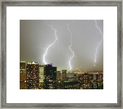 Lightning Dance Framed Print by Photography by Steve Kelley aka mudpig